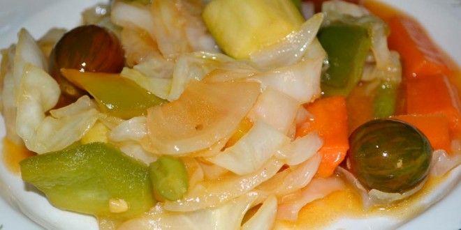 Verduras con salsa agridulce salteadas al wok.