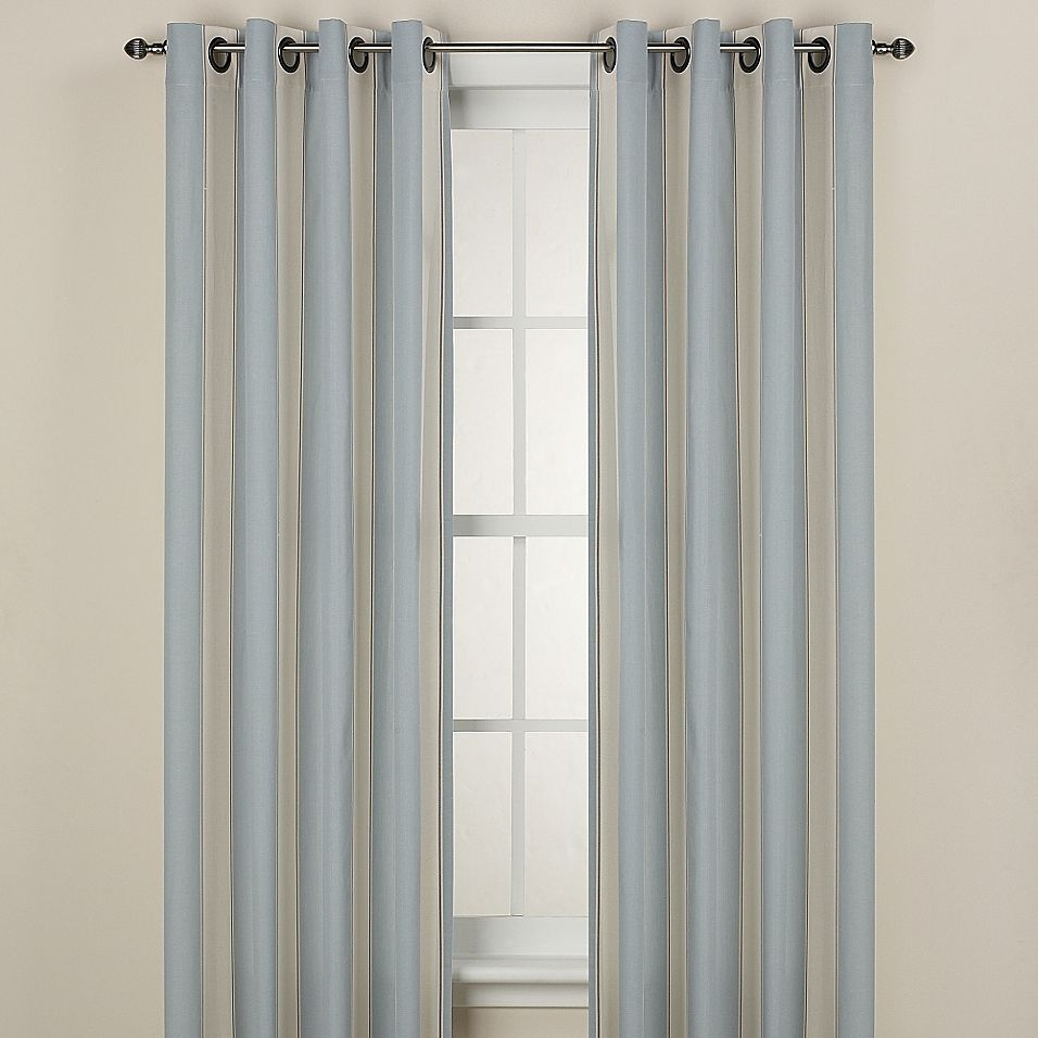 Lauren Stripe 84 Inch Window Curtain Panel In Blue Living Room