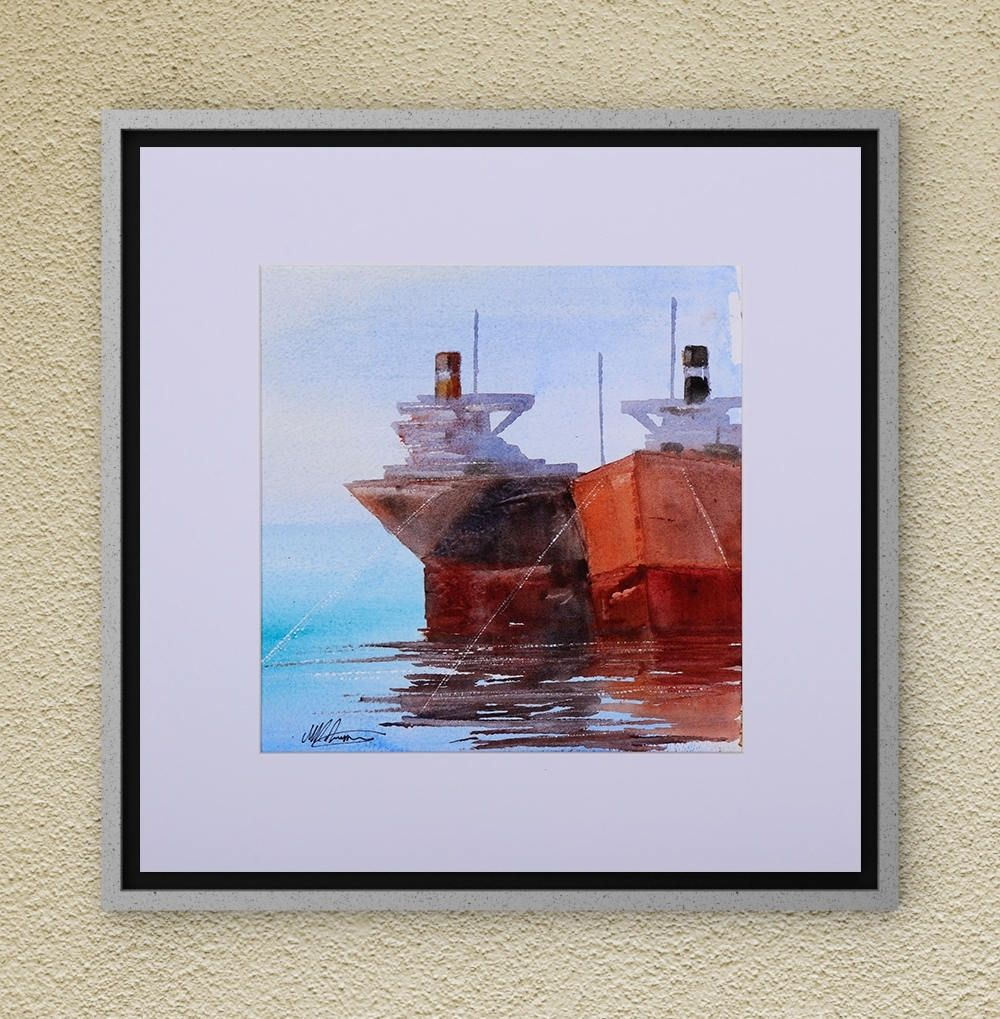 Ships On The Sea Watercolor Painting On Aquarelle Original