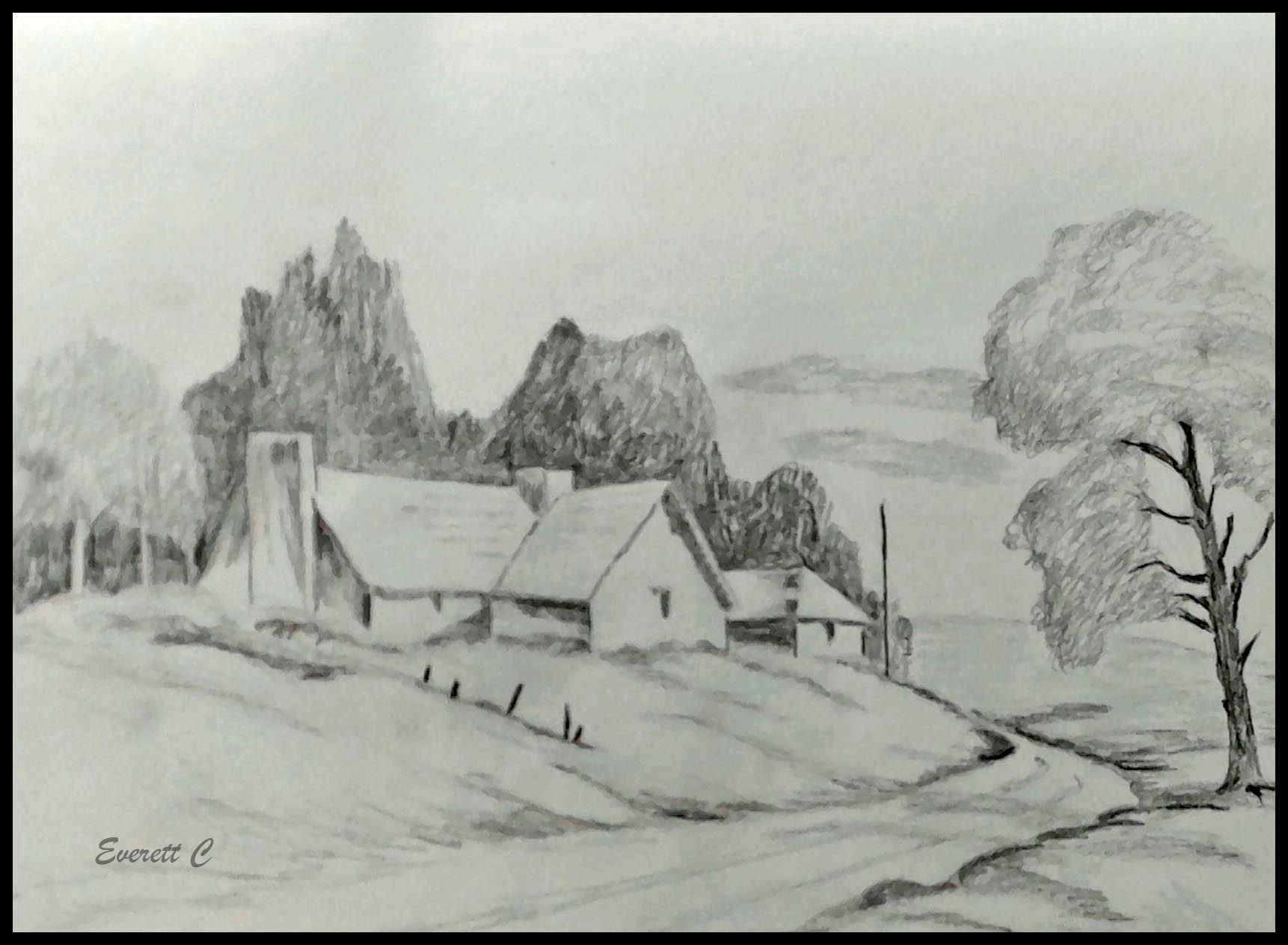 House On The Hill In Pencil Daily Drawing Drawings Watercolor Artists