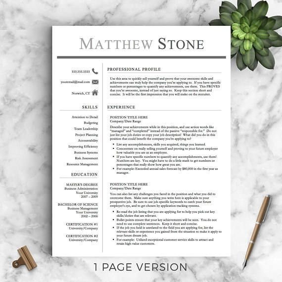 Microsoft Word Coupon Template Professional Resume Template For Word & Pages The Stone  Instant .