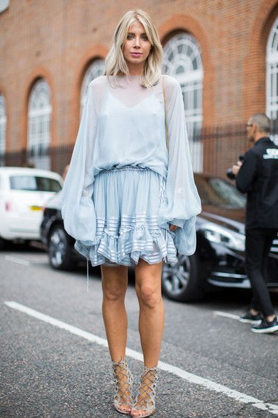 Boho Blue - The Best Street Style at London Fashion Week Spring 2017 - Photos