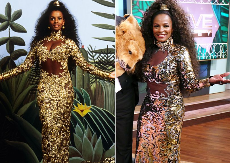 Vanessa Bell Calloway In Coming To America Left And Wearing The Costume From The Film America Dress Coming To America Costume African American Women Fashion