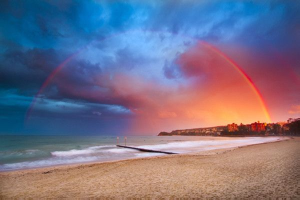 An incredible natural rainbow graces the beach. On sale! $24.99, Elementem Photography, 24x36 inches, canvas, rainbow, beach, sand, ocean