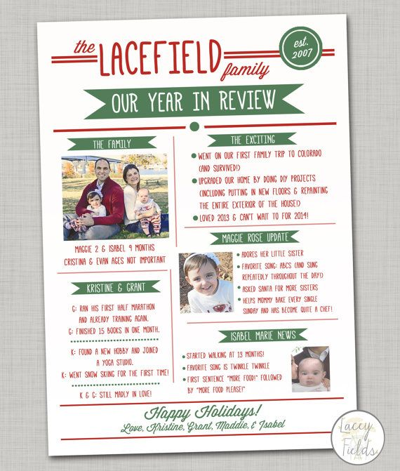 Year In Review Christmas Card With Photo Infographic Card Year In
