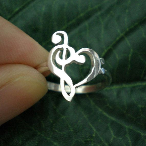 Music Love Heart Ring  Treble Clef Bass clef Ring by yhtanaff, $30.00