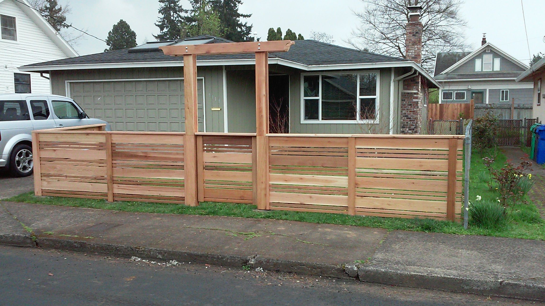 Modern Horizontal Fencing with Arbor Custom Cedar Fence