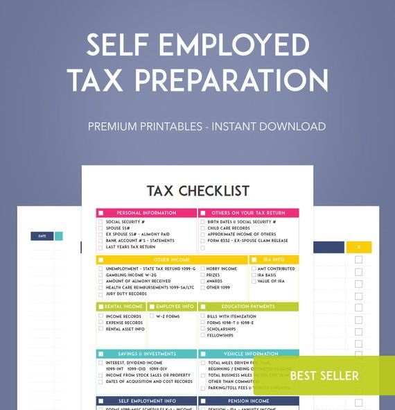 Self Employed Tax Preparation Printables - Instant Download - Small