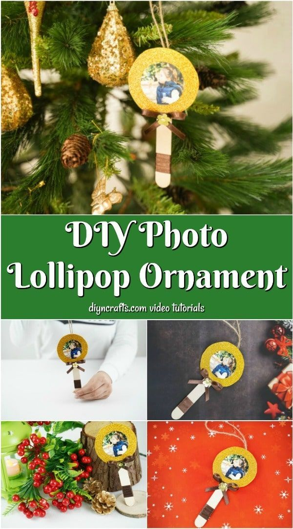Make this DIY lollipop photo ornament as a perfect way to hang pictures on your tree! These ornaments are so easy to make with craft sticks and you can customize them to your tree's theme! Your kids will love to help craft up these ornaments this holiday season! #christmas #ornaments #holiday #diy #crafts #christmastree
