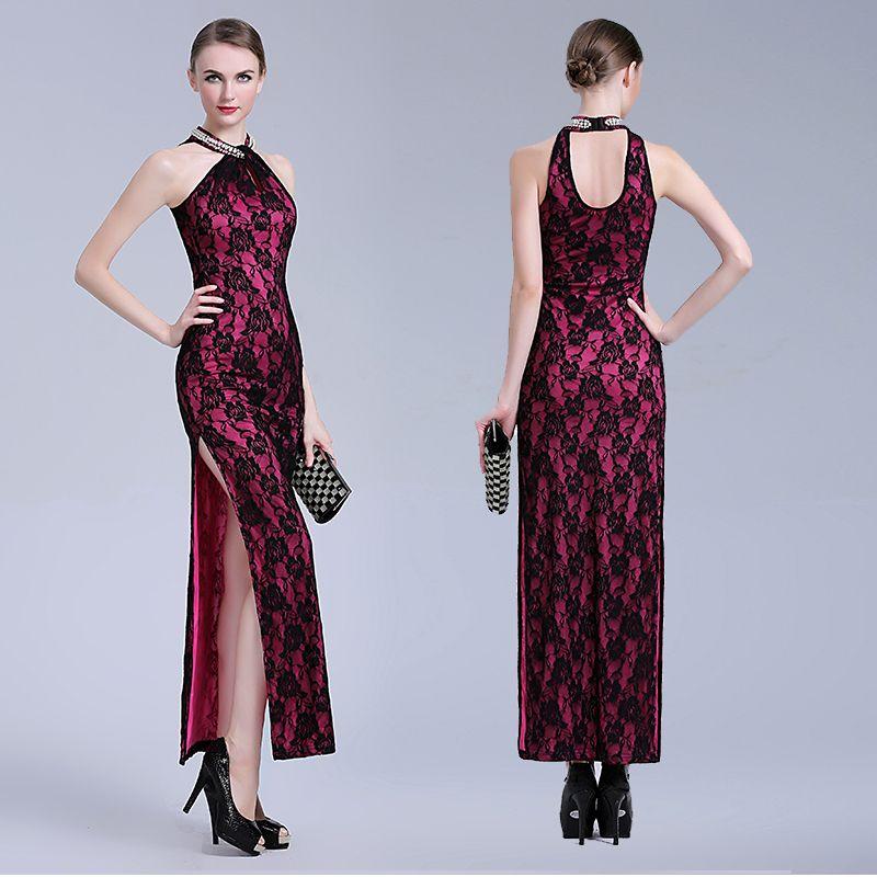 ca14b7ca6 Gorgeous Modern Lace Long Cheongsam Dress - Purple - Qipao Cheongsam &  Dresses - Women