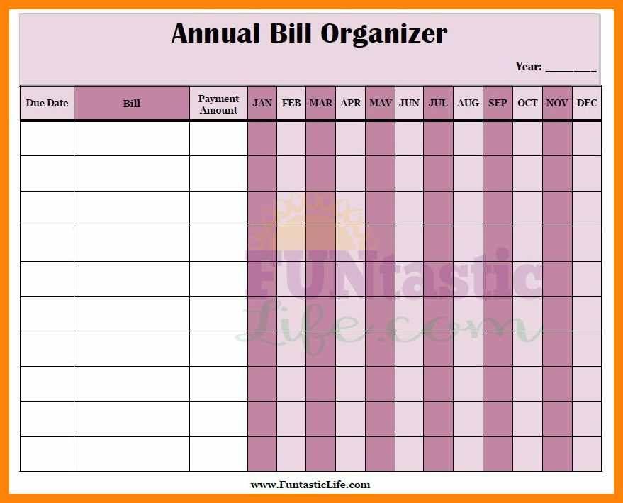 56 bill organizer template bill