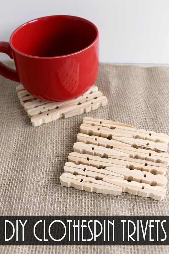 Darling DIY Clothespin Trivets | DIYIdeaCenter.com