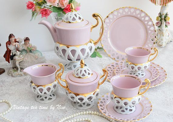 RESERVED - Tea set vintage - porcelain Bisant Slav porcelain pink tea cup set HCH tea cups rose porcelain vintage tea set vintage #teasets