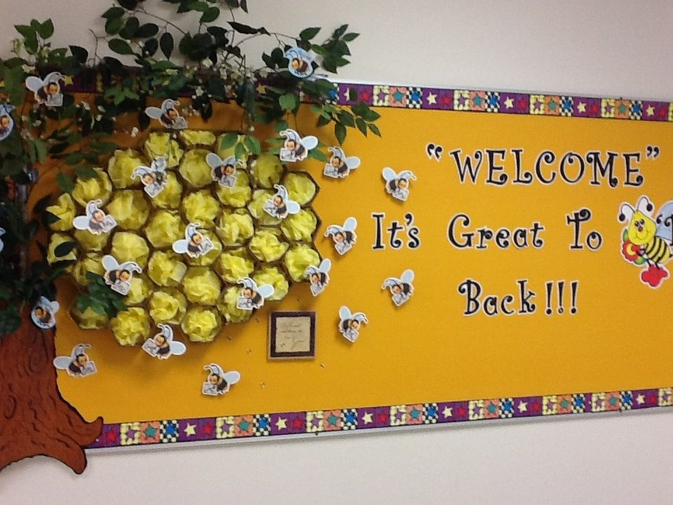 Classroom Ideas With Bees ~ Bee hive bulletin board from a creative teacher at my