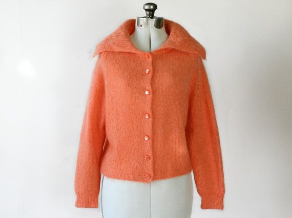 S A L E vintage 1950s orange fuzzy wool collared cardigan - - size small / medium