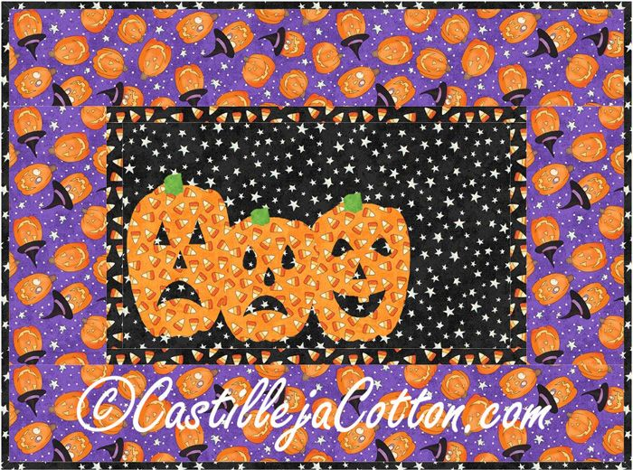 Mini wall hanging for Hallowen. Scary Pumpkins Quilt Pattern CJC-4060 by Castilleja Cotton - Diane McGregor.  Check out our table set patterns. https://www.pinterest.com/quiltwomancom/table-set-patterns/  Subscribe to our mailing list for updates on new patterns and sales! https://visitor.constantcontact.com/manage/optin?v=001nInsvTYVCuDEFMt6NnF5AZm5OdNtzij2ua4k-qgFIzX6B22GyGeBWSrTG2Of_W0RDlB-QaVpNqTrhbz9y39jbLrD2dlEPkoHf_P3E6E5nBNVQNAEUs-xVA%3D%3D