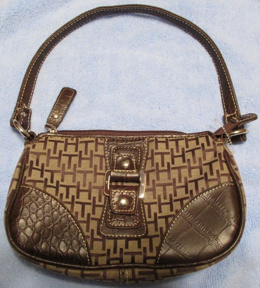 Tommy Hilfiger Brown Leather & Canvas Hobo Bag Purse Tote Decorative Buckle #TommyHilfiger #TotesShoppers