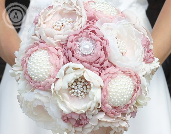 Pink Ivory Beige Silk Fabric Flower Wedding Bouquet Crystal Pearl