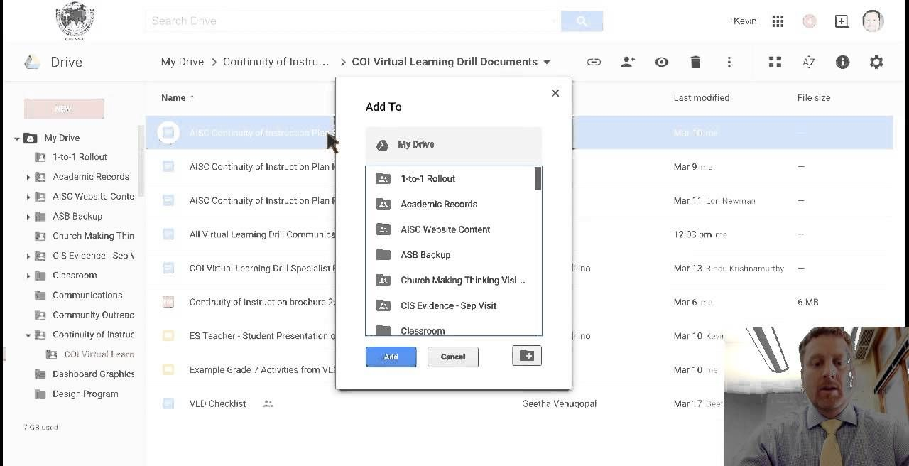 Adding files or folders to multiple locations in google