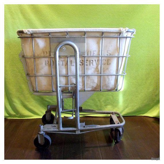 Industrial Postal Mail Cart Laundry Bin Basket Industrial Decor