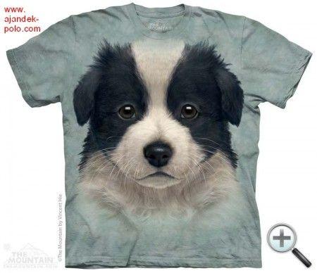 BORDER COLLIE BÉBI kölyök kutya portré The Mountain gyermek és felnőtt póló.