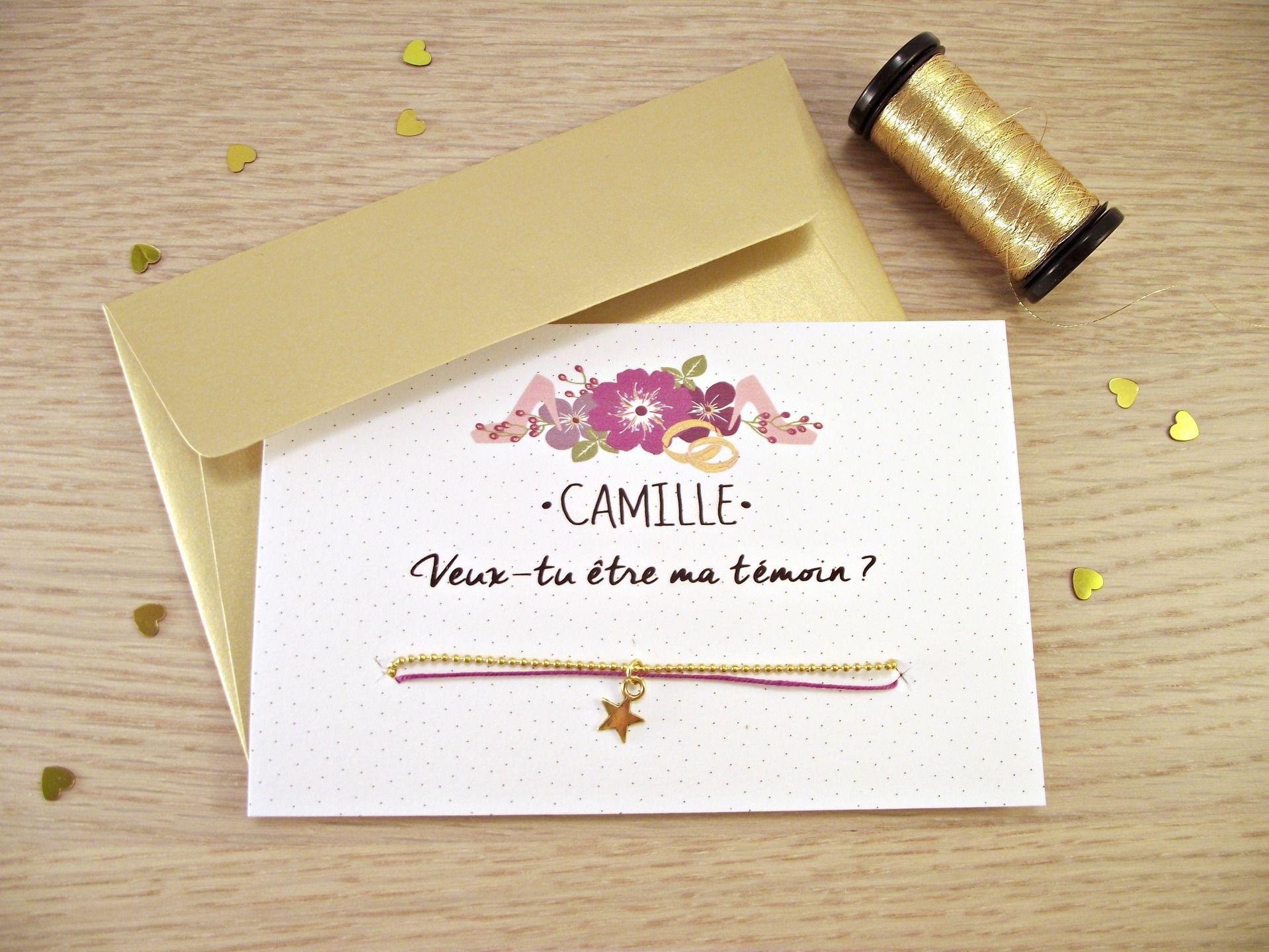Annonce Témoin Mariage dedans carte / bracelet demande témoin / « veux-tu être ma témoin