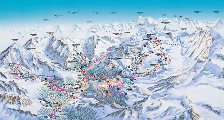 Saas Fee Ski Area Map Ski Vacation Europe Switzerland Ski