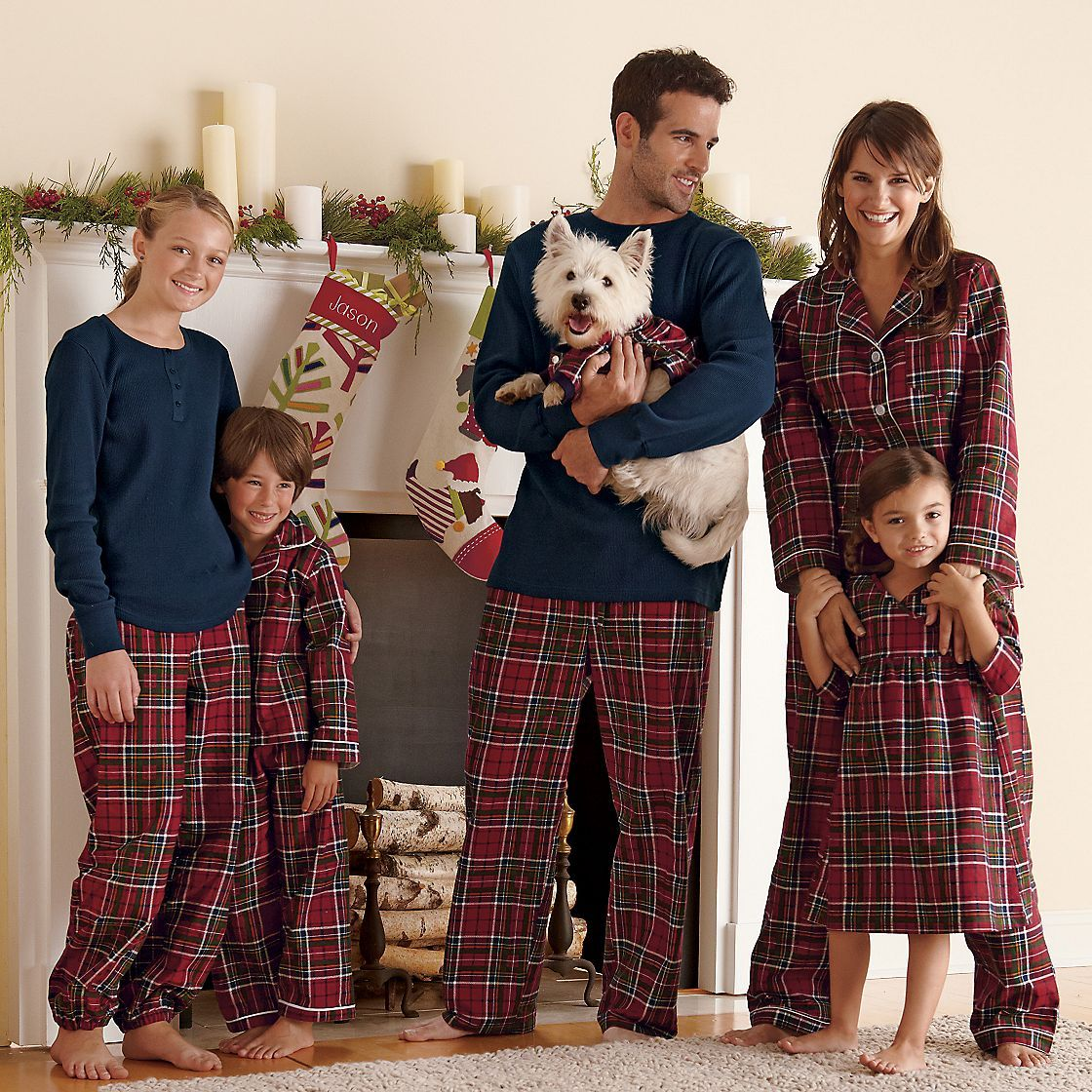 Family Christmas Pajamas Including Dog.We Always Love To Wear Coordinating Pjs On Christmas Morning