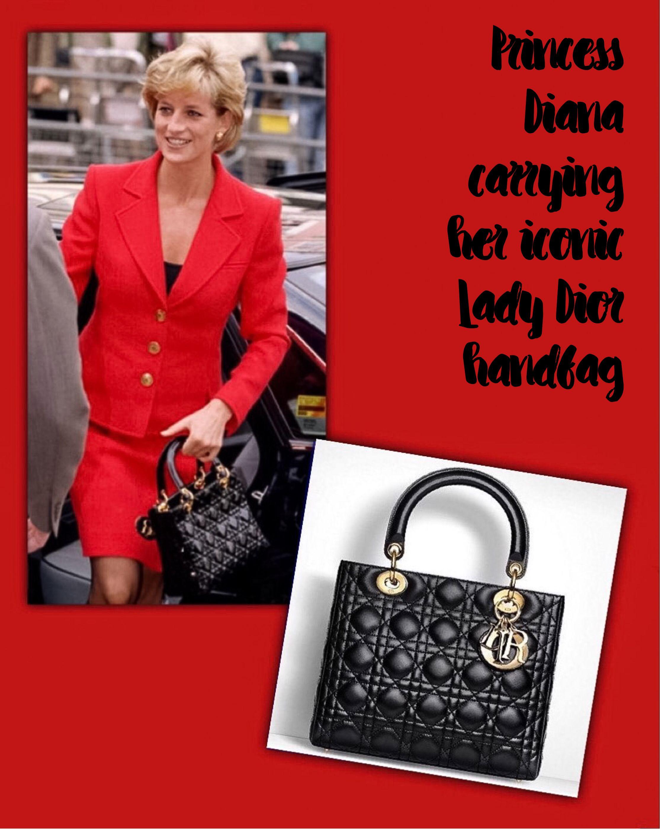 3c9ba3b94ce1 Princess Diana carrying her iconic Lady Dior handbag ...
