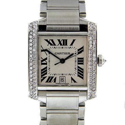 da4ac1e6a56 Cartier Tank Francaise Large Stainless Steel Diamond 1CTW Automatic Watch   2302