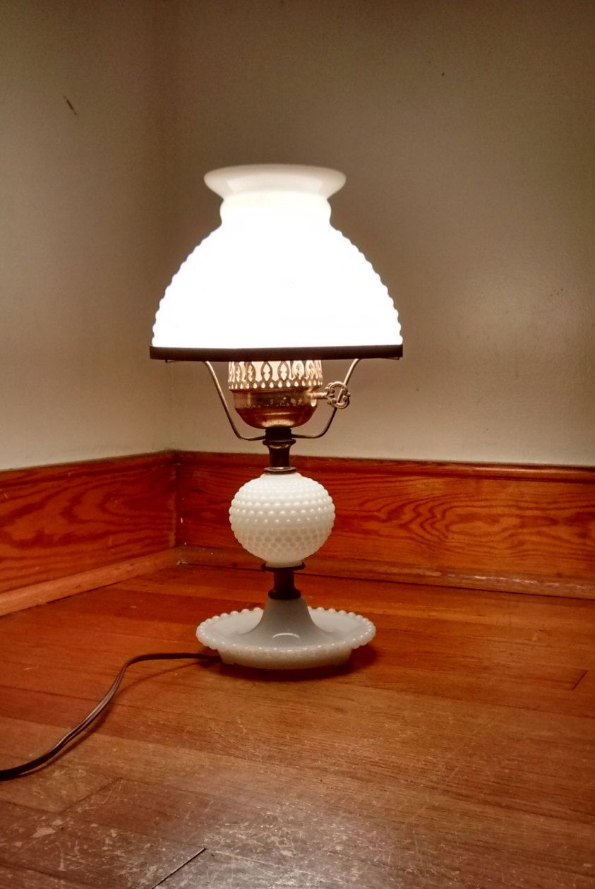 Milk Glass Hobnail Lamp Vintage Electric Lamp Milk Glass
