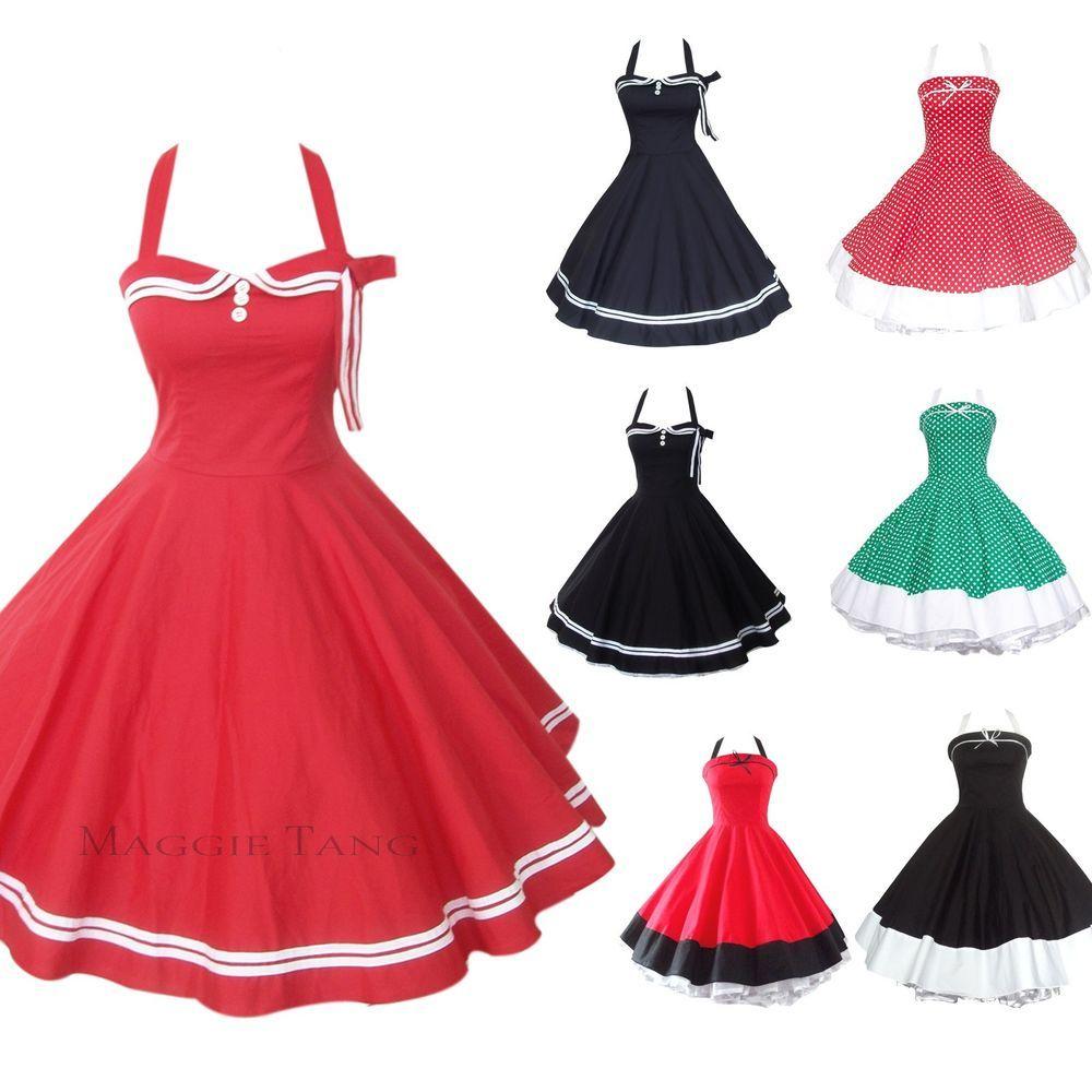 0704a6f1e55a Maggie Tang 50s 60s V-neck Vintage Dancing Swing Jive Rockabilly Dress  Petticoat