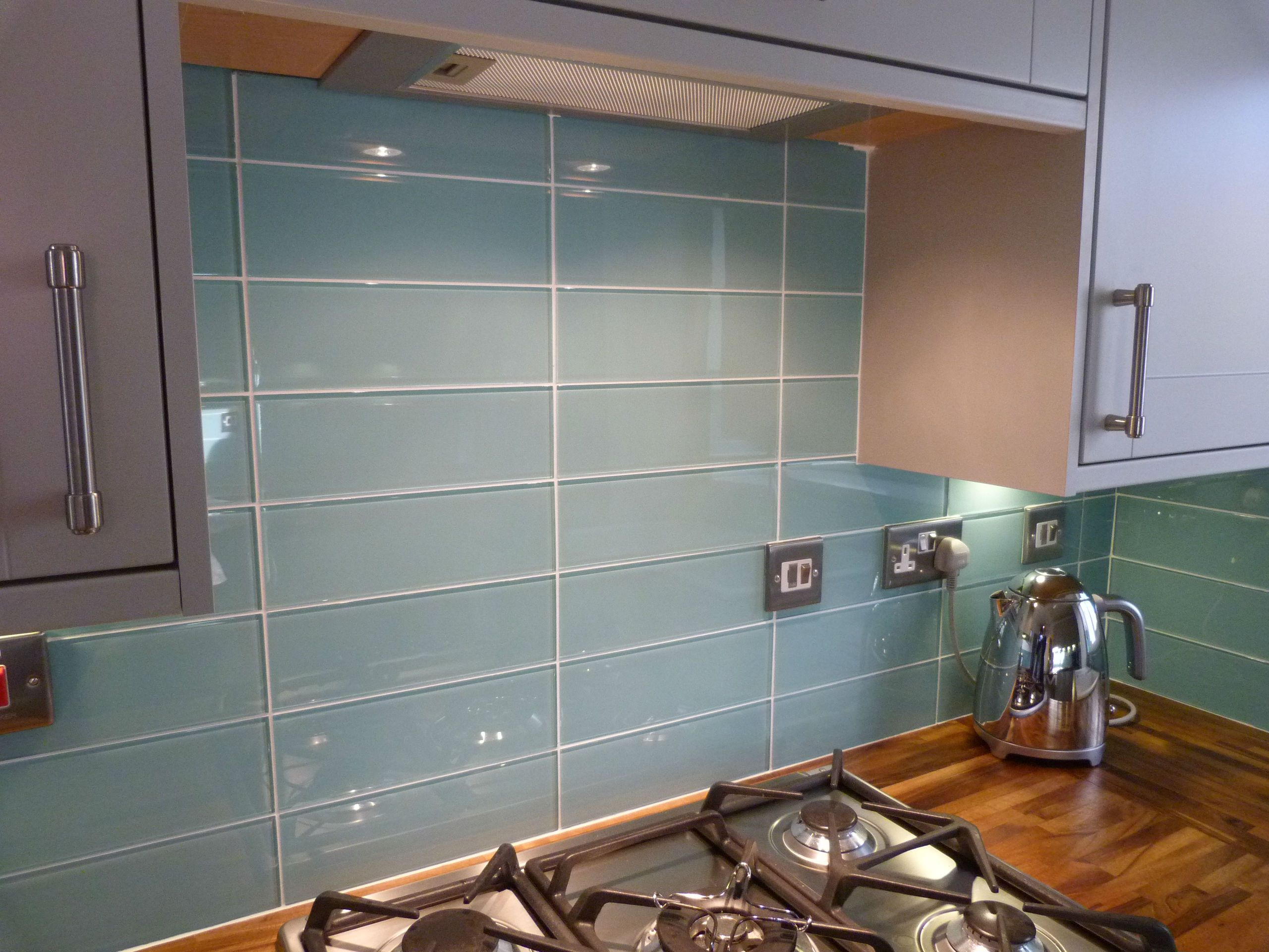 - Aqua Glass Backsplash Tile Large Turquoise Tiles Kitchen - (With