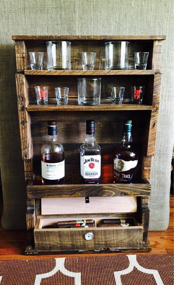 Cigar Humidor Whiskey Bottle Display Rocks Glasses Display Shot