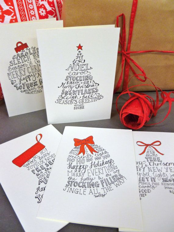 10 hand lettered christmas card pack with five festive designs and