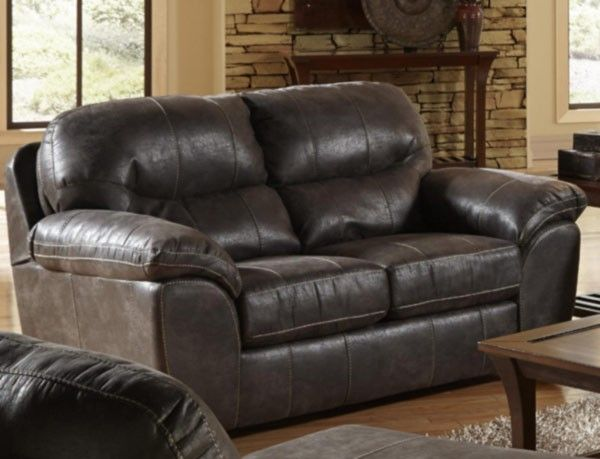 Wondrous Jackson Furniture Grant Leather Loveseat In Steel 4453 Gmtry Best Dining Table And Chair Ideas Images Gmtryco