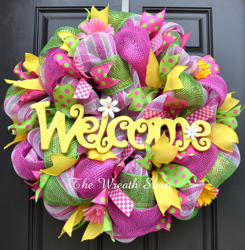 75a71e0d5b99db Spring Summer Welcome Wreath in Pink Green Yellow Mesh Spring and Summer  Deco Mesh Wreaths at The Wreath Shop