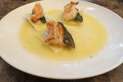 Fresh Butternut Squash Ravioli with Prawns, Fried Sage and Truffle Oil Sauce Recipe on Yummly