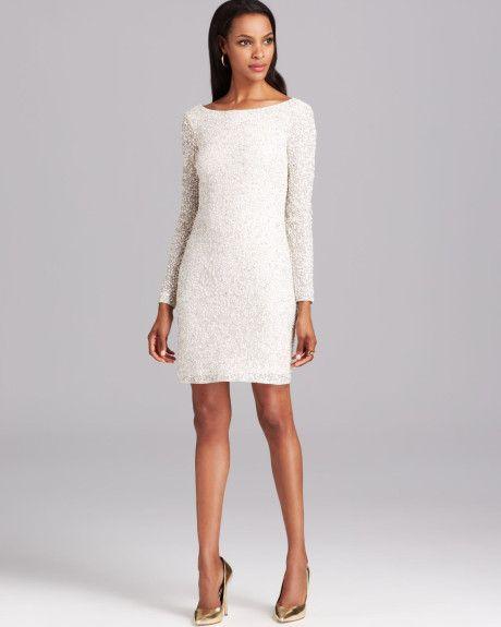 aidan-mattox-white-cocktail-dress-long-sleeve-sequin | Little ...