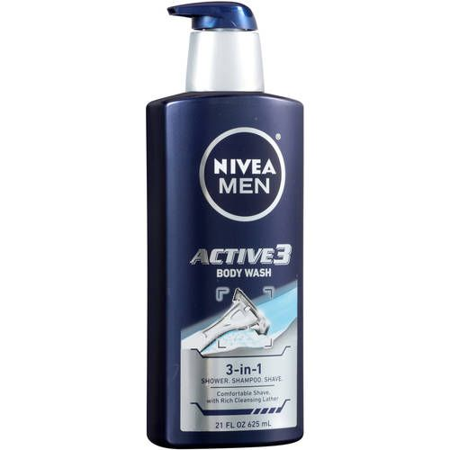 Nivea Men Active 3 Body Wash 3 In 1 Shower Shampoo Shave 21 Fl Oz Body Wash Shampoo Nivea