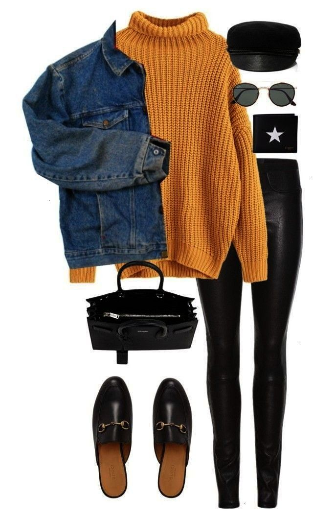 with black leggings mule shoes and a jean jacket Visit Dail  Outfits for Work Yellow turtleneck with black leggings mule shoes and a jean jacket Visit Dail Yellow turtlen...