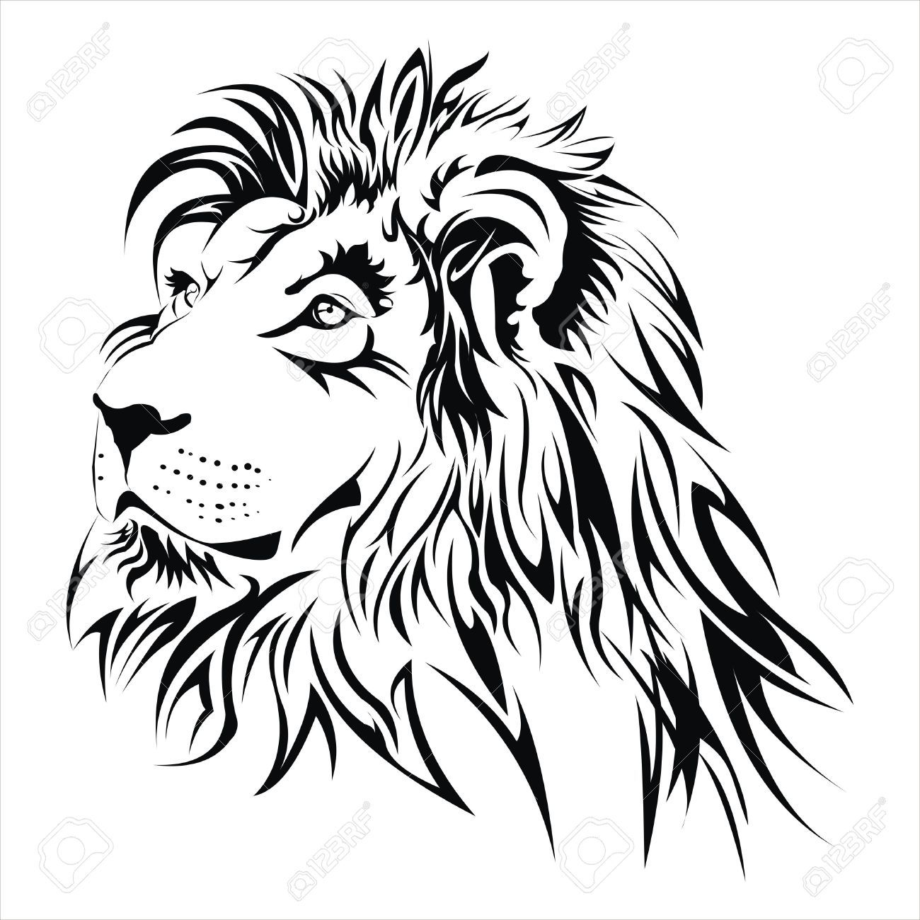 Lion Head Tattoo Royalty Free Cliparts Vectors And Stock