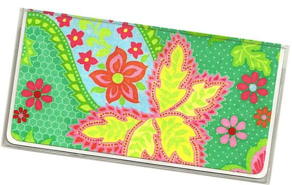 Checkbook Cover KC Green Paisley Floral vinyl by rabbitholeonline, $6.25