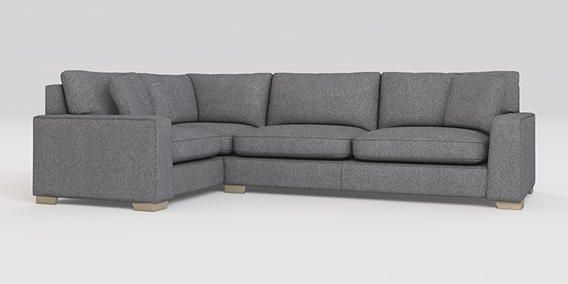buy sonoma iii corner sofa left hand 4 seats tweedy blend mid grey square angle light from. Black Bedroom Furniture Sets. Home Design Ideas