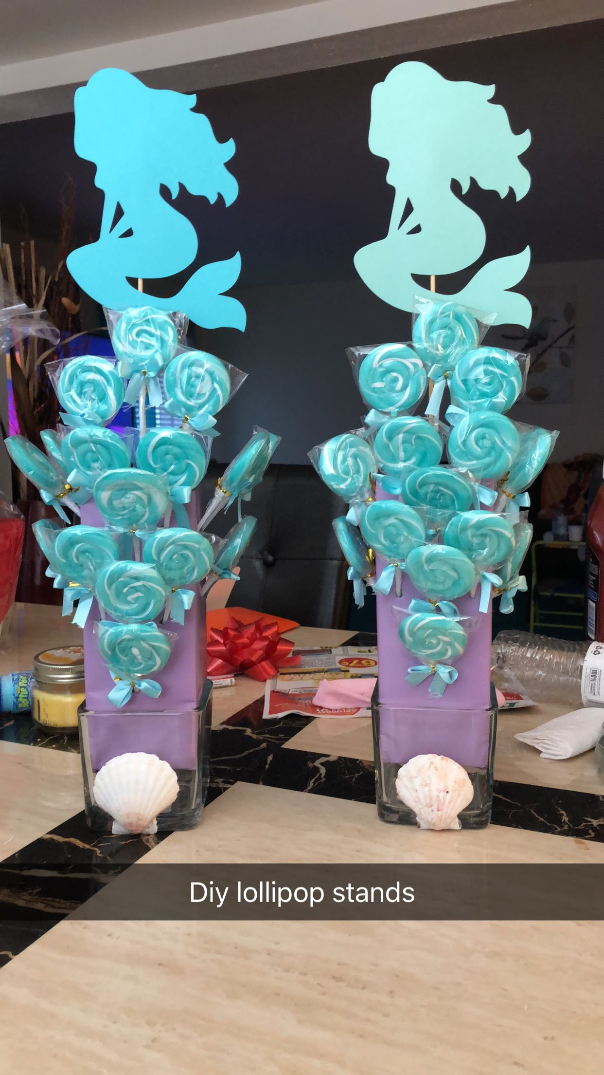 Diy lollipop stands purchased seashells vases wrapping