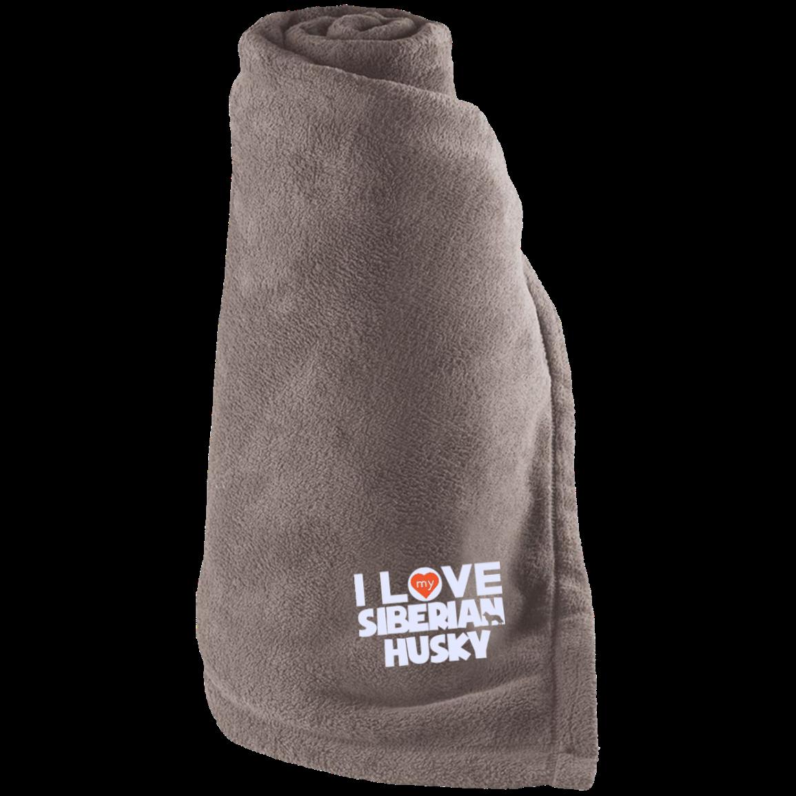 I Love My Siberian Husky - Large Fleece Blanket