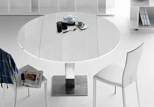 Mesa redonda extensible con pie cromado | mesa redonda ...