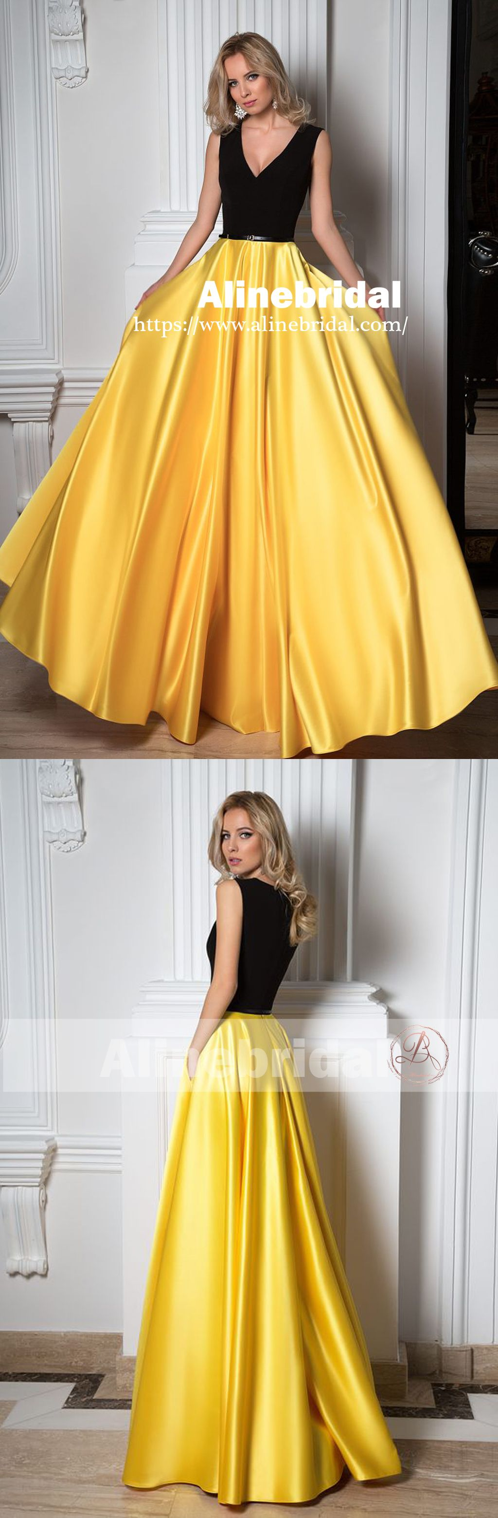 Simple black and yellow charming vneck sleeveless floor length prom