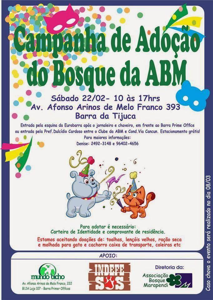 ADOÇÃO DE ANIMAIS NESTE SÁBADO (22/02) NA BARRA / RJ!