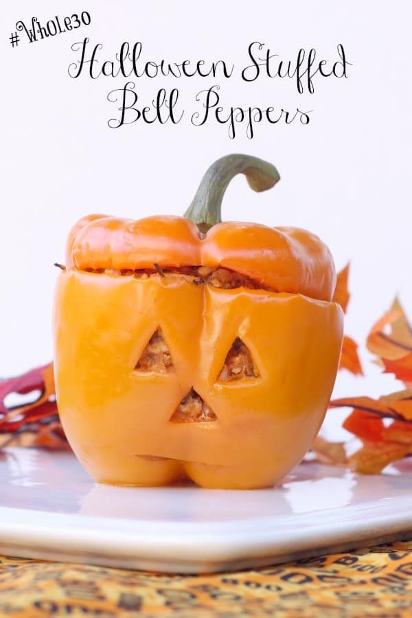 Whole30 Halloween Stuffed Bell Peppers #stuffedbellpeppers